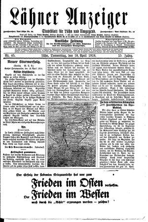 Lähner Anzeiger on Apr 18, 1918