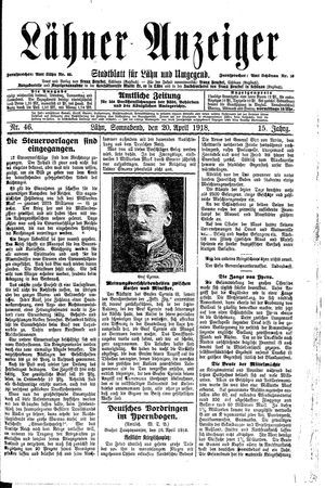Lähner Anzeiger vom 20.04.1918