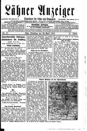 Lähner Anzeiger vom 23.04.1918