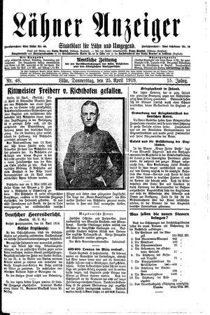 Lähner Anzeiger vom 25.04.1918