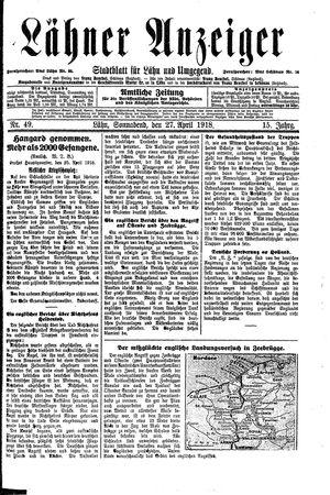 Lähner Anzeiger vom 27.04.1918