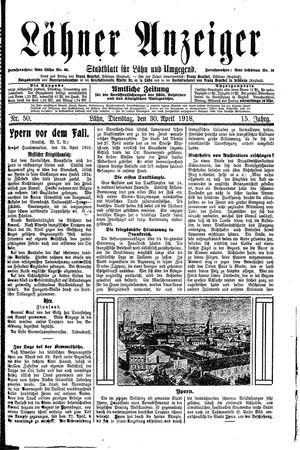 Lähner Anzeiger vom 30.04.1918