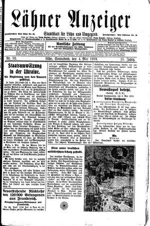 Lähner Anzeiger vom 04.05.1918
