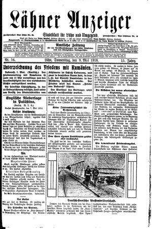 Lähner Anzeiger on May 9, 1918