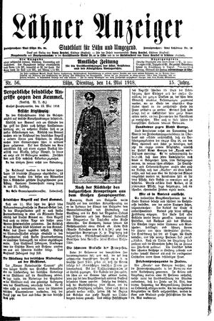 Lähner Anzeiger vom 14.05.1918