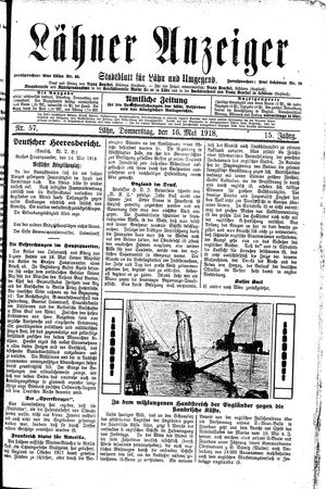 Lähner Anzeiger on May 16, 1918