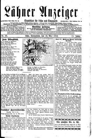 Lähner Anzeiger vom 18.05.1918