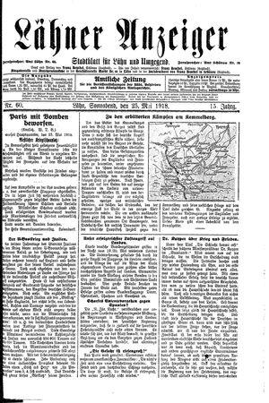 Lähner Anzeiger vom 25.05.1918