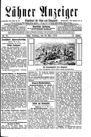 Lähner Anzeiger vom 28.05.1918