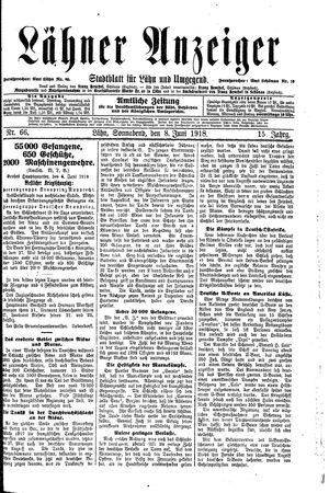 Lähner Anzeiger vom 08.06.1918