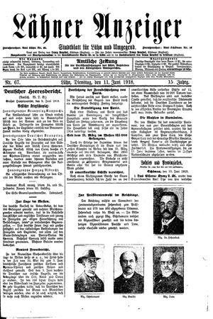 Lähner Anzeiger vom 11.06.1918