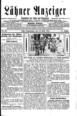 Lähner Anzeiger vom 13.06.1918