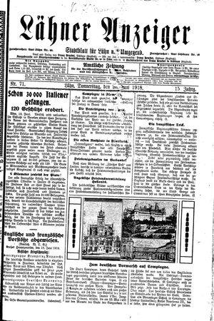 Lähner Anzeiger vom 20.06.1918