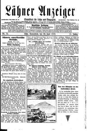 Lähner Anzeiger vom 22.06.1918