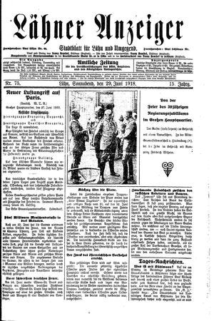 Lähner Anzeiger vom 29.06.1918