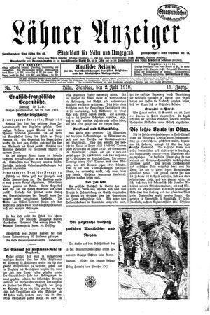 Lähner Anzeiger vom 02.07.1918