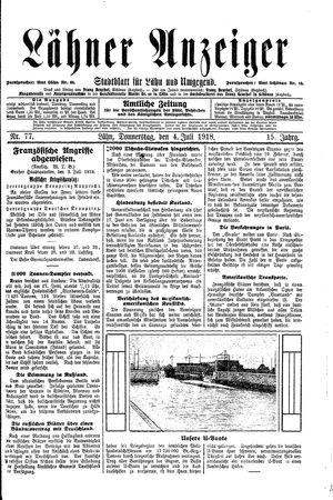 Lähner Anzeiger vom 04.07.1918