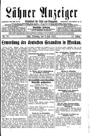 Lähner Anzeiger vom 09.07.1918