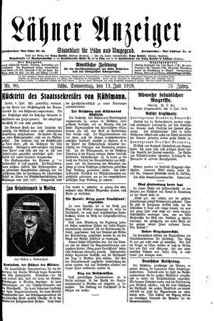 Lähner Anzeiger vom 11.07.1918