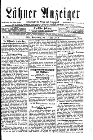 Lähner Anzeiger vom 13.07.1918