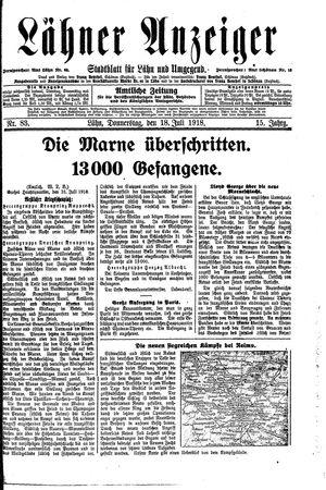 Lähner Anzeiger vom 18.07.1918