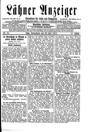 Lähner Anzeiger vom 20.07.1918