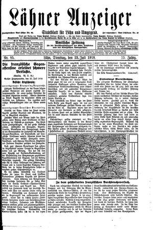 Lähner Anzeiger vom 23.07.1918