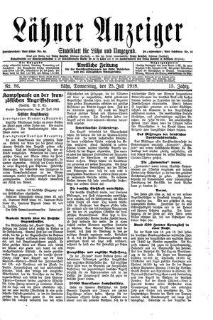 Lähner Anzeiger vom 25.07.1918