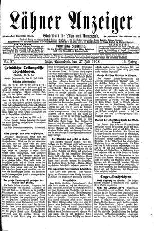 Lähner Anzeiger vom 27.07.1918