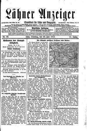 Lähner Anzeiger vom 30.07.1918