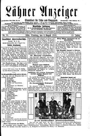 Lähner Anzeiger vom 06.08.1918
