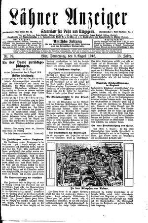 Lähner Anzeiger on Aug 8, 1918