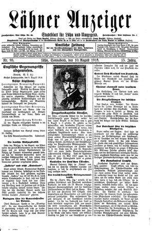 Lähner Anzeiger vom 10.08.1918