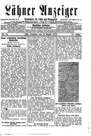 Lähner Anzeiger vom 13.08.1918