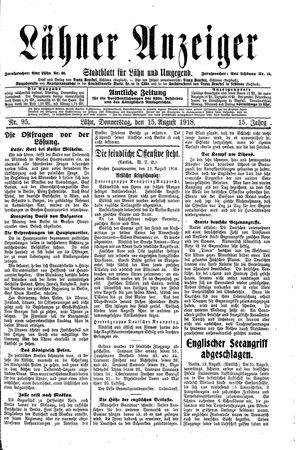 Lähner Anzeiger vom 15.08.1918