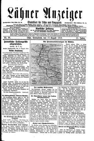 Lähner Anzeiger vom 17.08.1918