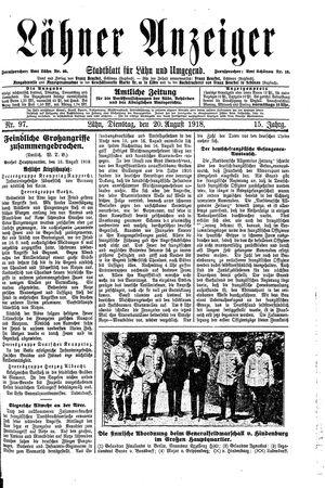 Lähner Anzeiger vom 20.08.1918