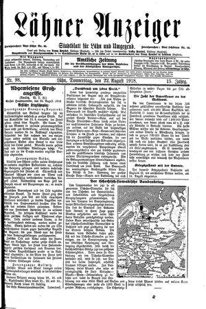Lähner Anzeiger vom 22.08.1918