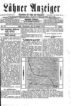 Lähner Anzeiger vom 24.08.1918