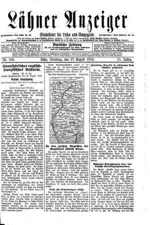 Lähner Anzeiger vom 27.08.1918