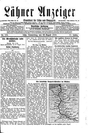 Lähner Anzeiger vom 29.08.1918