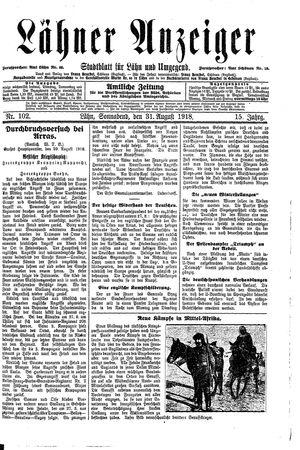 Lähner Anzeiger vom 31.08.1918