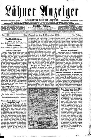 Lähner Anzeiger vom 07.09.1918