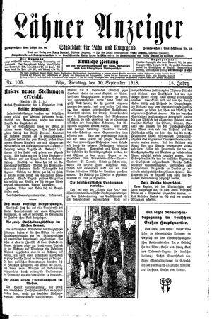 Lähner Anzeiger vom 10.09.1918