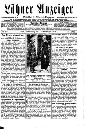 Lähner Anzeiger vom 12.09.1918