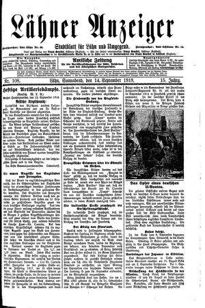 Lähner Anzeiger vom 14.09.1918
