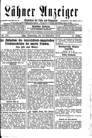 Lähner Anzeiger vom 19.09.1918