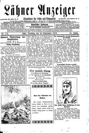 Lähner Anzeiger vom 24.09.1918