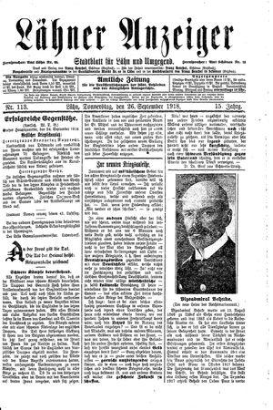 Lähner Anzeiger vom 26.09.1918