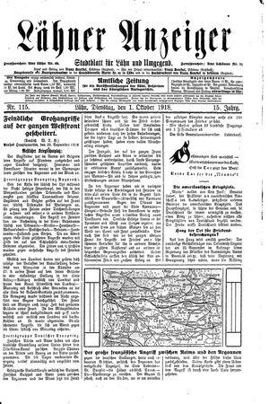 Lähner Anzeiger vom 01.10.1918